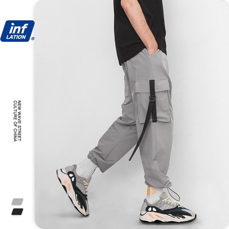 INFLATION Men Track Pants 2020 Elastic Waist Mens Pants Windbreaker Streetwear Men Trousers Harem Hip Hop Swag Mens Pants 8855W