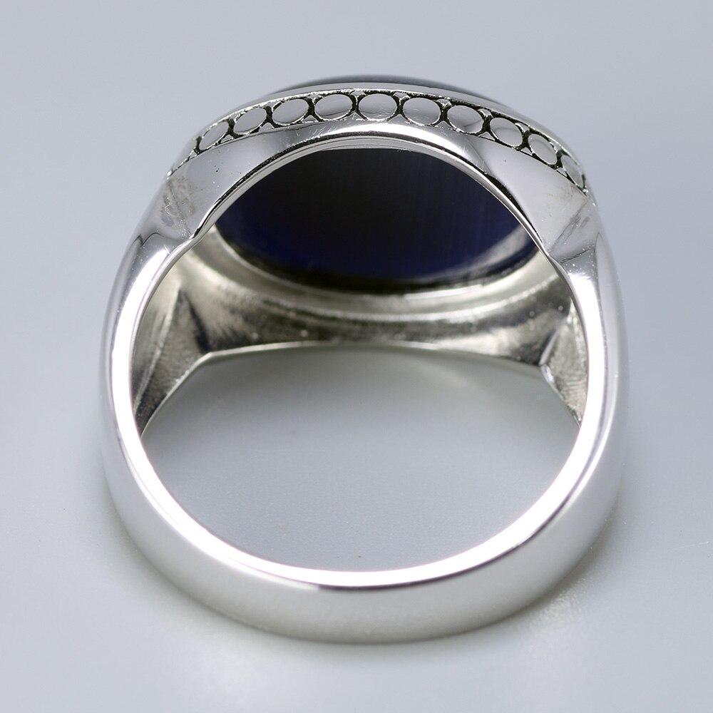 Image 3 - Настоящее чистое серебро 925 пробы ювелирные изделия голубые тигровые глаза кольца для мужчин и женщин овальная форма натуральный камень простой дизайн турецкие ювелирные изделияКольца   -