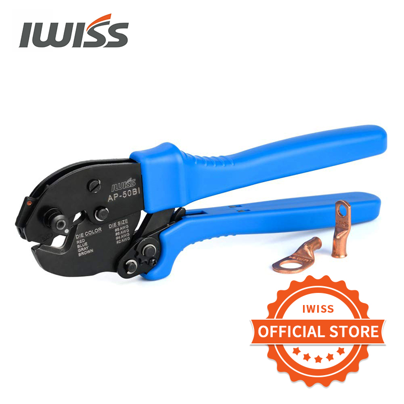 IWISS AP 50BI crimping plier Cable Crimper for Copper Cable Lugs from 8 2AWG with Four adjustable jaws Pliers     - title=