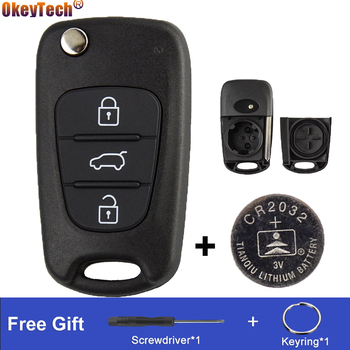 OkeyTech 3BT Remote Flip Car Key Shell Case Fob For Kia K2 K5 Rio 3 Picanto Ceed Cerato Sportage For Hyundai With CR2032 Battery image