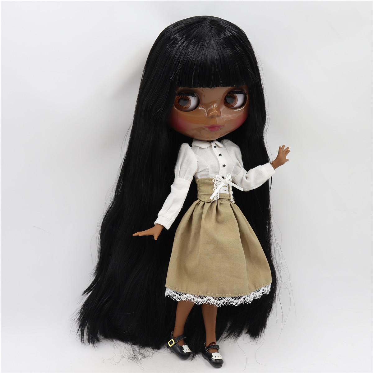 Neo Blythe Doll White Shirt Brown Black Skirt 2