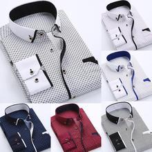 2020 Men's Fashion Business Men Plus Size Buttons Turn Down Collar Long Sleeve Shirt Slim Top Comfortable Soft Clothing
