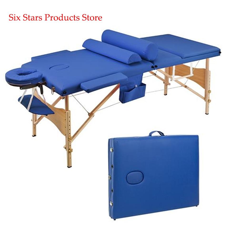 3 Sections Folding Portable Beauty Massage Table Set 70CM Spa Tattoo Body Beauty Furniture Facial Aluminum Alloy Adjustable