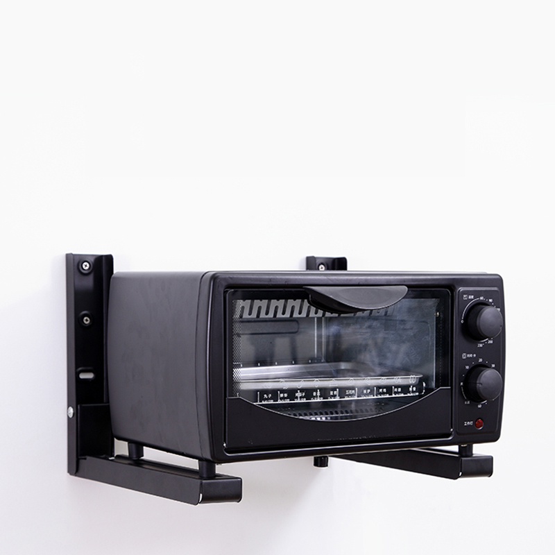 2PCS Kitchen Microwave Oven Adjustable Black Metal Shelf Bracket Heavy Support Wall Mounted Microwave oven Rack Shelf Bracket