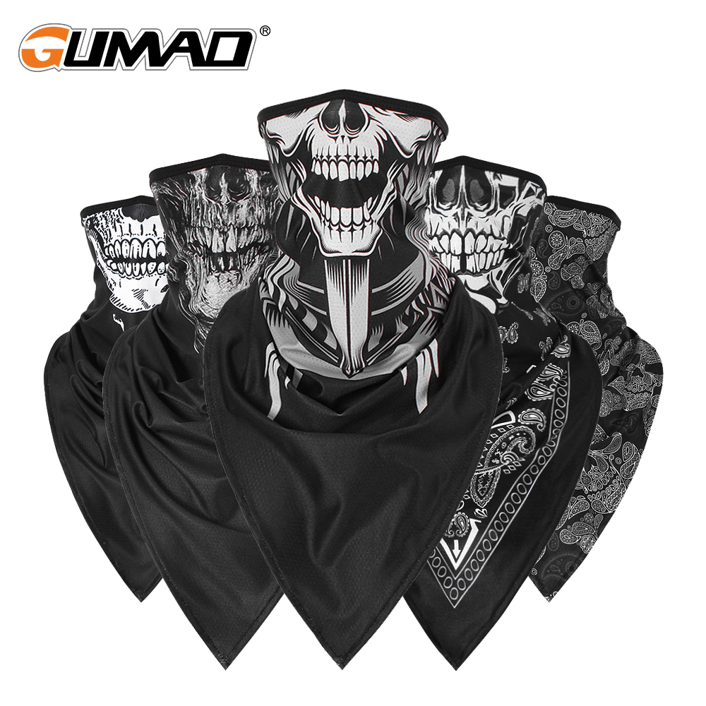 Men Girl Breathable Sport Red Skull Bandana Scary Face Ski Triangle Scarf Fishing Hiking Running Neck Gaiter Cover Headband Thin