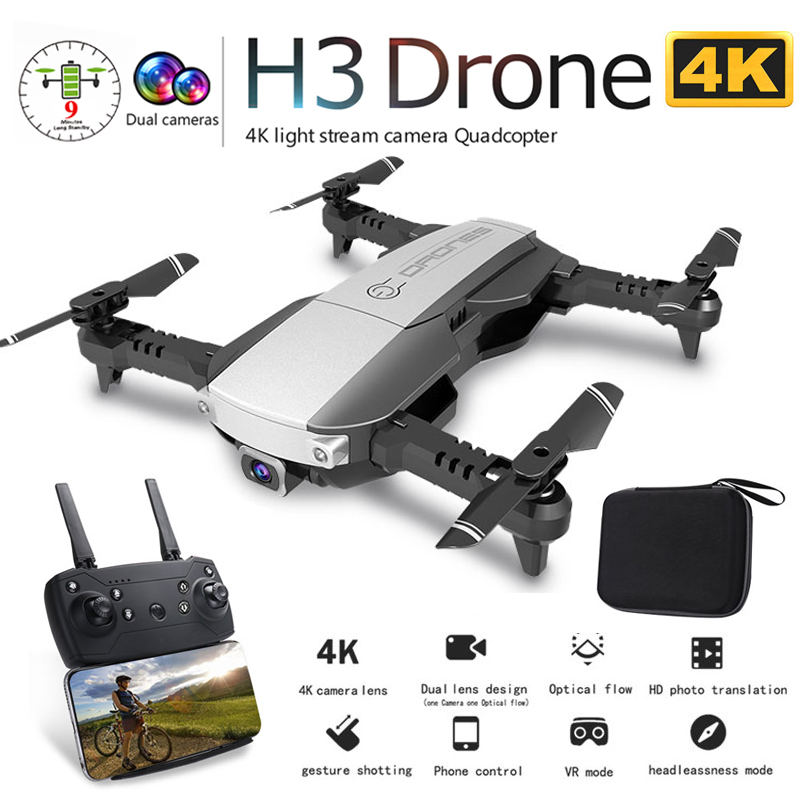 <font><b>H3</b></font> Professional Foldable <font><b>Drone</b></font> with Dual Camera 4K <font><b>HD</b></font> WiFi FPV Wide Angle Optical Flow RC Quadcopter Helicopter Toy VS SG106 E58 image