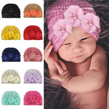 цена на Cute Newborn Baby Infant Girl Hat Floral Toddler Comfy Bowknot Hospital Cap Beanie Hat Knitted Infant Girls Hats Accessories
