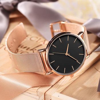 שעון יד רוז מינימלי חגורת רשת