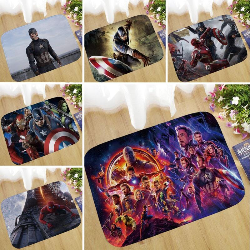 1pcs 40x60cm Marvel The Avengers 4 Plush Carpet Iron Man Captain America Batman Rug Cotton Christmas Christmas Gift For Kids