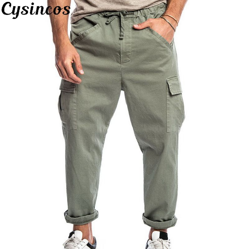 CYSINCOS 2019 New Length Men's Solid Multi Pockets Solid Color Elastic Waist Cargo Joggers Pants Working Loose Drawstring Pants