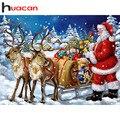 Квадратная Алмазная картина Huacan, вышивка с Санта Клаусом, вышивка крестиком, рождественские украшения для дома