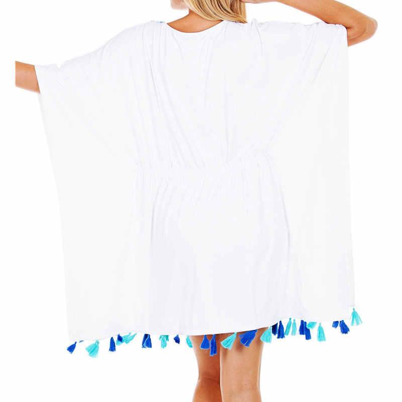 2020 Katun Bordir Gaun Tunik Pantai Menutupi untuk Wanita Pareo De Plage Swimsuit Cover Up Pantai Sarung Baju Renang Kaftan # q824