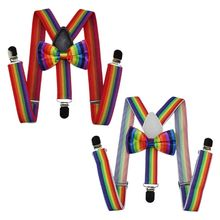 2 Pcs/set Cute Fashion Kids Bow Tie Strap Clip Set Rainbow Striped Leading Knot Children Bib Pants Accessories for Boys Girls