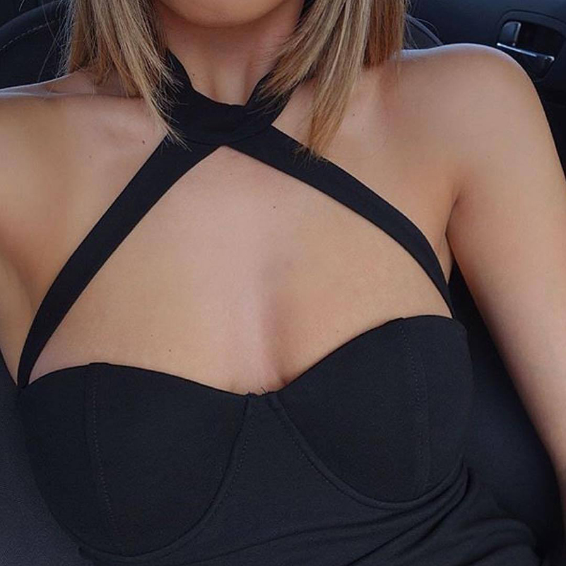 Off Slim Night High Shoulder Sleeveless Party Solid 2020 Waist <font><b>Dress</b></font> female Summer <font><b>Sexy</b></font> Wear <font><b>Bodycon</b></font> Sheath Club Halter <font><b>dresses</b></font> image