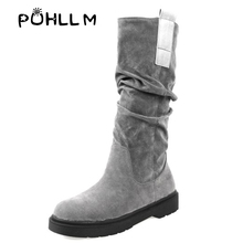 PUHLLM Women Winter Snow Boots Ladies Warm Boots Sexy Tight High Long Shoes Woman Platforms High Boots 34-43 Boots Slip-On F59 nubuck leather stovepipe long boots winter warm snow boots round toe slip on platforms over the knee women boots size 34 43