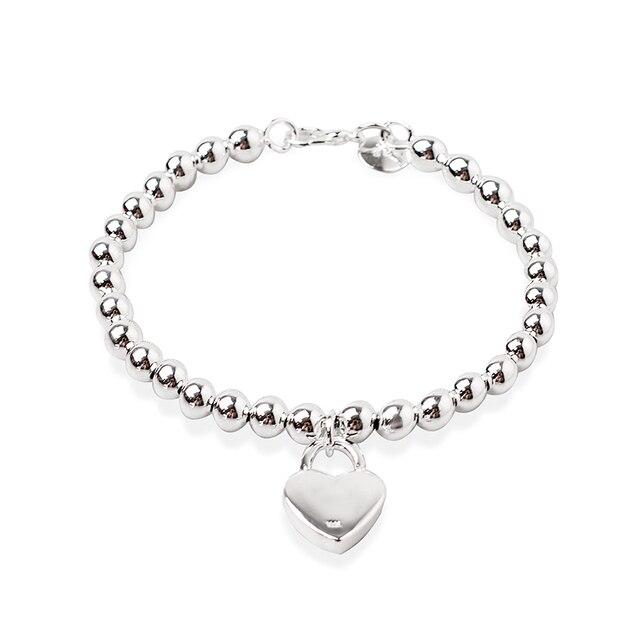 DOTEFFIL 925 Sterling Silver Heart Lock 6mm Beads Chain Bracelets Jewelry Women Top Quality Lovers Bracelets Christmas Gift 5