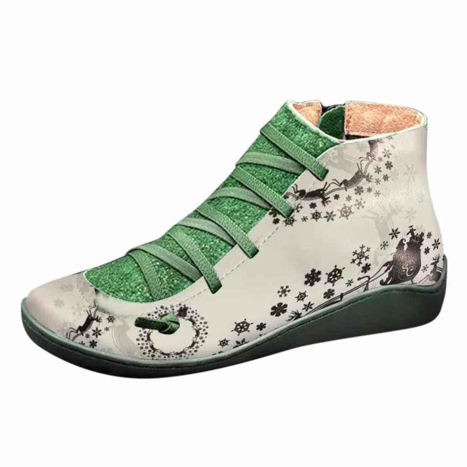 Kar botları sıcak kadınlar Casual düz deri Retro dantel-up çizmeler yan fermuar yuvarlak ayak ayakkabı botları kış ayakkabı kadın Botas Mujer #10