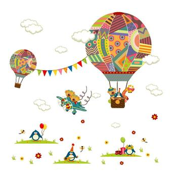 Cartoon Hot air balloon series Wall Stickers Kids room Kindergarten Baby room Wall Decals Eco-friendly DIY Art Vinyl Murals 10
