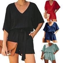 2020 New Summer Jumpsuits Wide-legged Pants Casual Solid Color V-neck Short-sleeved Short Pants Belt Bodysuit Women Sexy Romper цена и фото