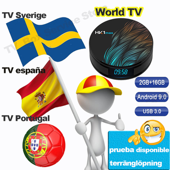 HK1 Max Android TV box for TV Spain Spanish Portugal Sweden Belgium TV Android 9.0 Smart TV Box  2G 16G Set Top Box Andorid hk1 max smart set top box rk3328 android player tv box 4g 64g wifi bt