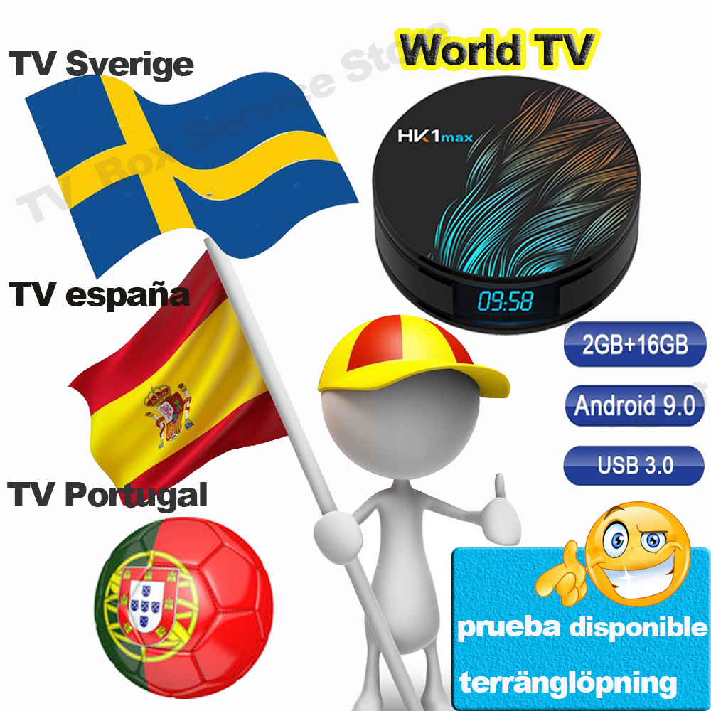 HK1 Max Android TV box for TV Spain Spanish Portugal Sweden <font><b>Belgium</b></font> TV Android 9.0 Smart TV Box 2G 16G Set Top Box Andorid image