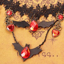 Girls Gift Lace Bat Necklace Retro Gothic Lolita Pendant Choker Halloween Jewelry Accessories for women(China)
