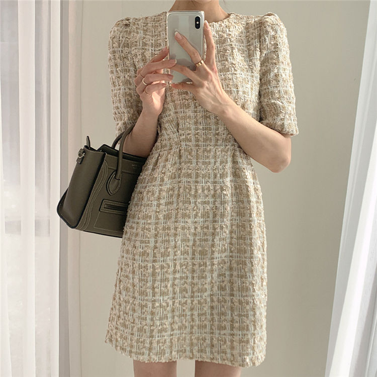 High Waist Casual Puff Sleeve Plaid Elegant Vintage Mini Dress 3