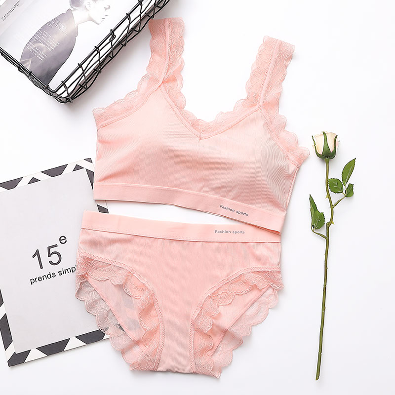 Women   Bra     Set   Push Up Solid Color Simple Sexy Breathable Sweet Bralette Thread Beauty Back   Set     Bra   and Lace   Brief