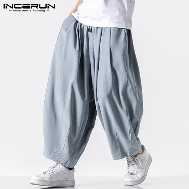 Men Wide Leg Pants 2020 Drawstring Joggers Plain Pockets High Street Casual Trousers Men Baggy Fashion Harem Pants INCERUN S-5XL