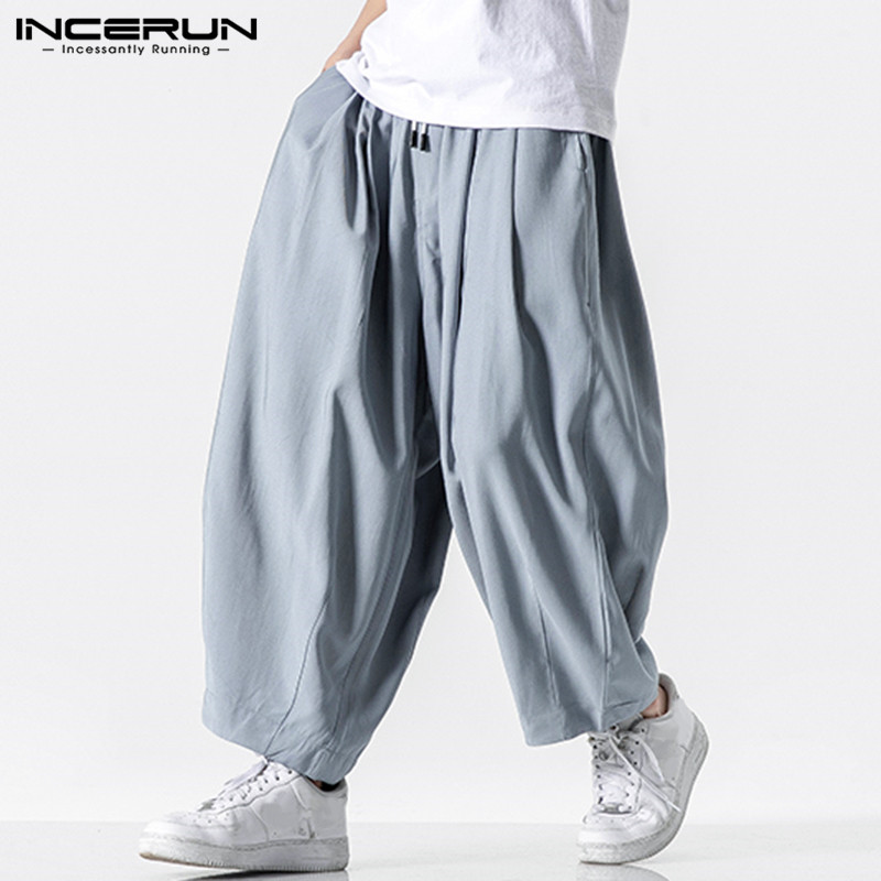 Men Wide Leg Pants 2020 Drawstring Joggers Plain Pockets High Street Casual Trousers Men Baggy Fashion Harem Pants INCERUN S-5XL
