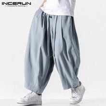 Casual Trousers Leg-Pants Joggers Plain-Pockets INCERUN Wide Baggy High-Street Men Drawstring
