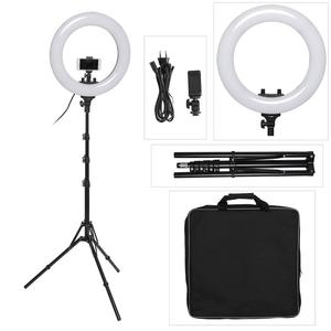 18 Inch Photo Studio lighting LED Ring Light Bi-color 3200-5600k Photography Dimmable Ring Lamp With Tripod for Portrait,Makeup