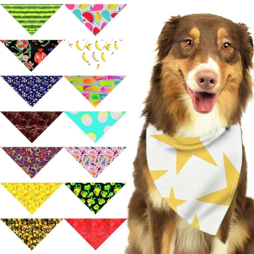 Pet Dog Fruit Pattern Bandana Collar Neckerchief Triangle Neck Scarf Saliva Towel