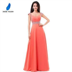 Image 3 - DEERVEADO A Line Cap Sleeve Sweetheart Chiffon Plus Size Long Evening Dress Gown Elegant Formal Dresses Robe De Soiree S321