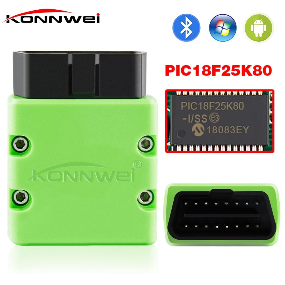 KONNWEI OBD2 Scanner KW902 ELM327 V1.5 Bluetooth Autoscanner PIC18f25k80 MINI ELM 327 OBDII KW902 Code Reader for Android Phone