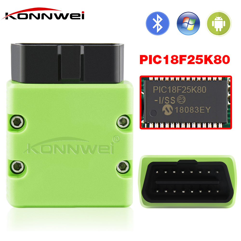 KONNWEI OBD2 Scanner KW902 ELM327 V1.5 Bluetooth Autoscanner PIC18f25k80 MINI ELM 327 OBDII KW902 Code Reader for Android Phone
