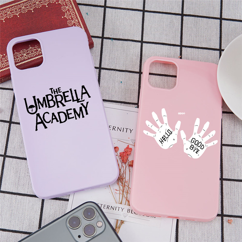 GYKZ The Umbrella Academy Glossy Phone Case For iPhone 12 11 Pro XS MAX X SE 20 X XR 7 6 8Plus Candy Color Soft TPU Cover Fundas