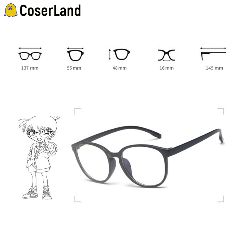 Coserland Detective Conan Cosplay Circular Spectacle Frames Anime Glasses Cos Prop Adult Children Conan Cos Accessory Fancy Gift