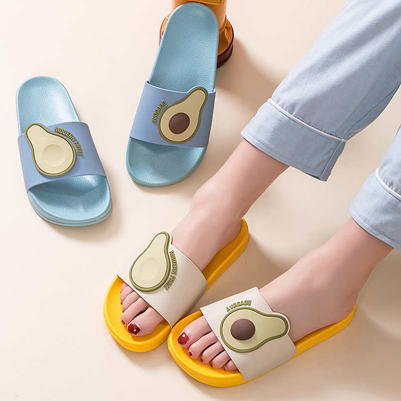 Women Summer Slippers Slide Sandals Beach Slides Flip Flops Cartoon Fruits Avocado Thick Bottom Comfort Women Men Couple Shoes