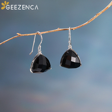 925 Sterling Silver Geometric Black Agate Blue Aventurine Drop Earrings Fine Jewelry Natural Stone Triangle Earring Fashion Gift fashion jewelry golden triangle small black white glass drop earrings woman gift