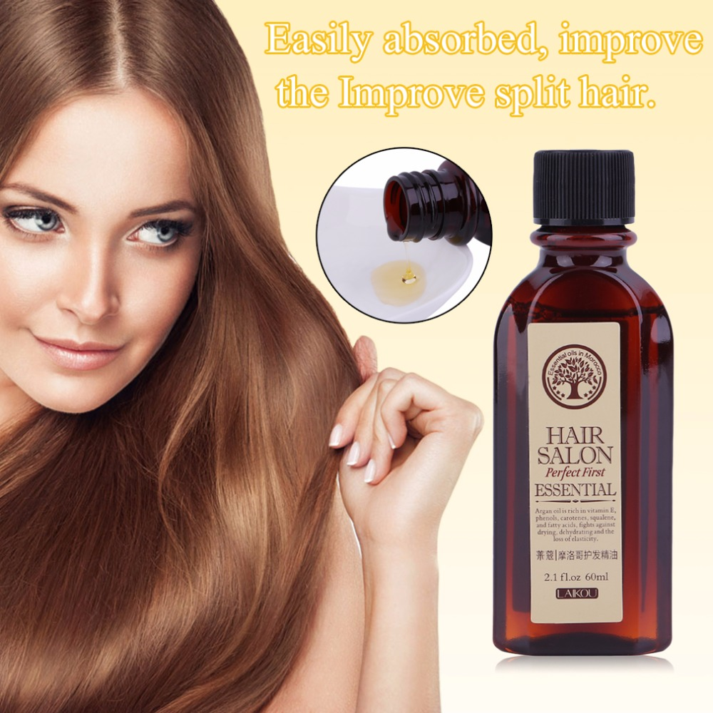 HOT LAIKOU 60ML Hair Care Essence Treatment Moroccan Pure Argan Oil Essential Dry Hair Type Treatments Oil For Moisturizing Hair