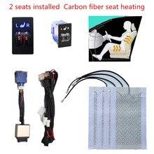 2 assentos de fibra de carbono aquecimento assento aquecido aquecedor assento cobre assentos aquecidos quentes automóveis universal 12 v 2 dial 5 interruptor nível