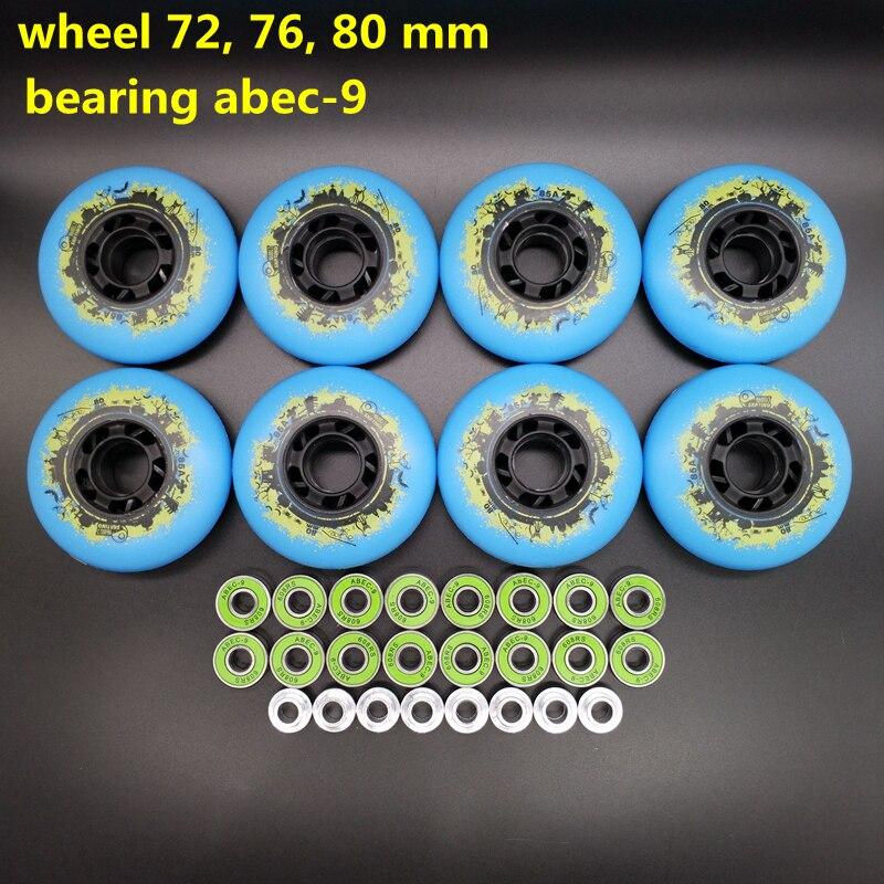 Free Shipping Roller Wheel Skate Wheel 85 A Blue Wheel 72 Mm 76 Mm 80 Mm Abec-9