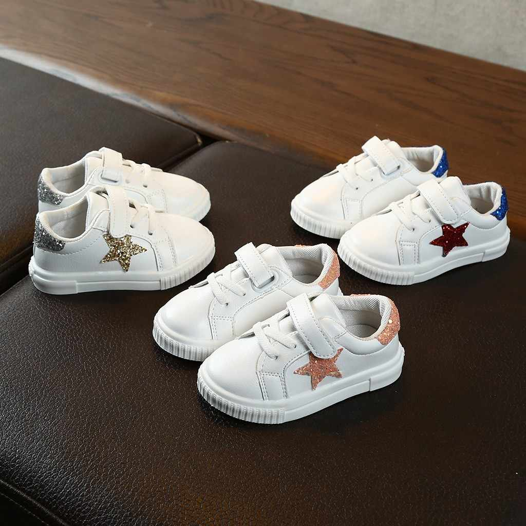 Children Kids Baby Girls Boys Bling Star School Flat Sport Sneakers Casual Shoes kids shoes children shoes kids sneakers shoes