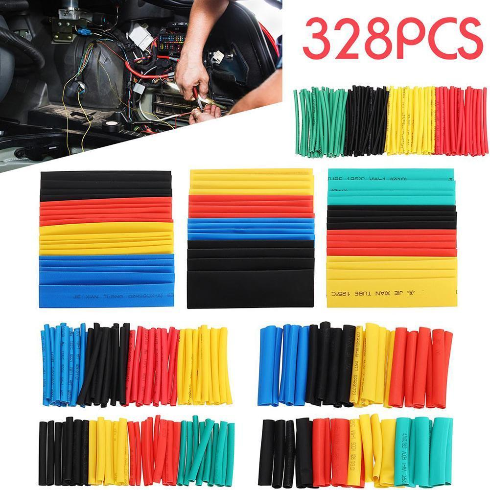 Hot 328pcs Car Assorted Electrical Cable Heat Shrink Tube Sleeve Insulation Thermal Sleeve Protection Cable Automobile Shri O3X6|Heat Risers| |  - title=