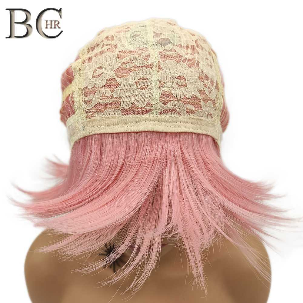 BCHR Short Anime Cosplay Wig Pink Color Synthetic Wigs with Two Ponytails for Costume Party