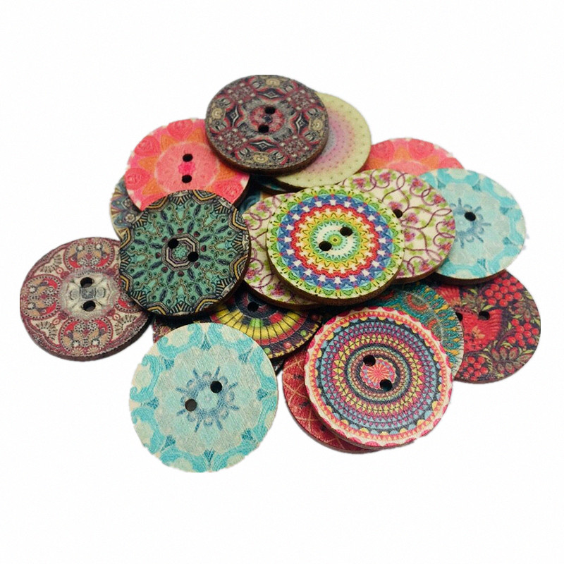 50pcs Retro series Wood Buttons Handwork Sewing Scrapbooking Clothing Crafts