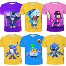 2020 novo 3d impresso tshirt crianças moda browls corvo quente estrela do jogo camiseta menino 8-bit spike t menina topos roupas browl presente