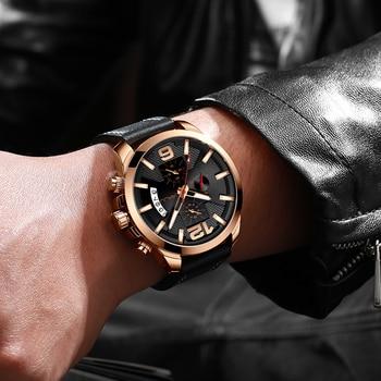 Top Luxury Brand CRRJU New Chronograph Men Watch Hot Sale Fashion Military Sport Waterproof Leather Wristwatch Relogio Masculino 6