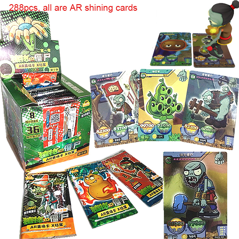 Shining Cards Flash Board Card Plant Zombies VS Table Cards AR Game Collections Toys For Children